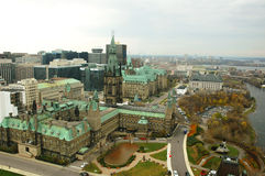 Ariel view of Downtown Ottawa 2. Ariel view of Ottawa city, downtown parliament buildings Stock Photography