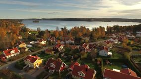 Ariel view of houses in Sweden stock video