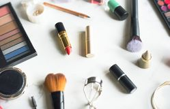 Ariel view of make up products Royalty Free Stock Photo