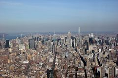 Ariel view of manhattan New York. Shot from lower Manhattan on a sunny day stock photos