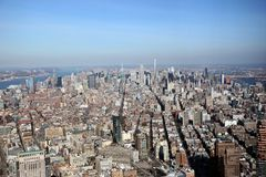 Ariel view of manhattan New York. Shot from lower Manhattan on a sunny day royalty free stock photo