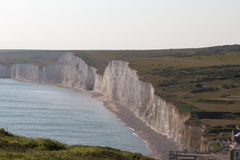 Ariel view of the Seven Sisters chalk cliffs in Sussex. Royalty Free Stock Photos