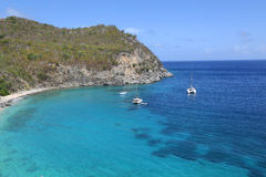 Ariel view of Shell beach at St. Barts, French West Indies Royalty Free Stock Photography