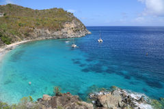 Ariel view of Shell beach at St. Barts, French West Indies Royalty Free Stock Images