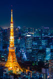 Ariel view of Tokyo tower in the night scene Royalty Free Stock Photo