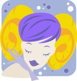 Aries. Zodiac- illustration of a girl and aries Royalty Free Stock Image
