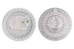 Aries Belarus silver coin. 2009 isolated white background royalty free stock photos