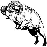 Aries black white Royalty Free Stock Images