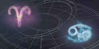 Aries and Cancer horoscope signs compatibility. Night sky Abstract background. stock photo