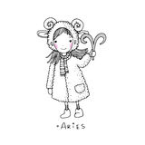 Aries. A cute little girl in a fur coat. Hand drawing  objects on white background. Vector illustration Stock Images