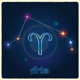 Aries de la constelación del vector con la muestra del zodiaco Fotos de archivo libres de regalías