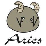 Aries de la muestra del zodiaco del conejito en un estilo de la historieta libre illustration