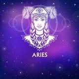 Aries de la muestra del zodiaco Princesa fantástica, retrato de la animación Dibujo blanco, fondo - el cielo estelar de la noche Imagen de archivo libre de regalías