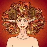 Aries de la muestra del zodiaco Señora de las ovejas Fotos de archivo