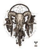 Aries del tatuaje y colector del sueño Muestra del zodiaco con los elementos decorativos del indio y del boho stock de ilustración