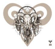 Aries del tatuaje y colector del sueño Muestra del zodiaco con los elementos decorativos del indio y del boho libre illustration
