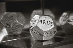 Aries Dice in Gray Scale Photography Stock Photos