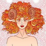 Aries do sinal do zodíaco Senhora dos carneiros Foto de Stock Royalty Free