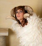 Aries girl. Ram or Aries woman, this photo is part of a series of twelve Zodiac signs of astrology Stock Image