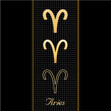 Aries Horoscope Symbols. Golden embossed zodiac icons in three styles for the astrology Fire Sign, Aries, with textured black background. EPS8 organized in Stock Photography