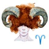 Aries horoskopu raster ilustracji