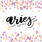 Aries lettering Calligraphy Brush Text horoscope Zodiac sign illustration royalty free illustration