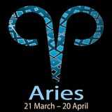 Aries. Ornamental decorative vector Zodiac sign.  Astrological p. Atterned Ram  zodiac symbol. Abstract modern background with dates, months, latin name text. 21 Royalty Free Stock Image