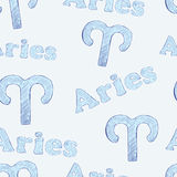 Aries seamless. Seamless texture with aries zodiac sign the sketch on the blue Stock Photos