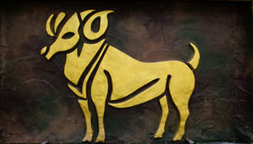 Aries sign. Of horoscope on the wall Royalty Free Stock Images
