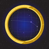 Aries star horoscope zodiac in fish eye telescope with cosmos background. Ariesstar horoscope zodiac in fish eye telescope golden ring frame with cosmos Royalty Free Stock Photography