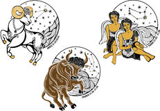Aries,Taurus,Twins boys and the zodiac sign.Horosc Stock Images