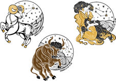 Aries,Taurus,Twins females and the zodiac sign.Hor Stock Photography