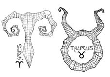 Aries and taurus zodiac symbols Stock Image