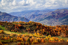 Aries Valley. Fall on Bedeleu Mountains, Alba county, Romania, Rustic houses on the mountains. Used by villagers all summer when they go up in the mountains with Stock Image