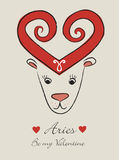Aries. Vintage romantic horoscope sign Valentine's day Royalty Free Stock Image
