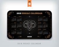 Aries 2018 year zodiac calendar pocket size horizontal layout  Royalty Free Stock Photos