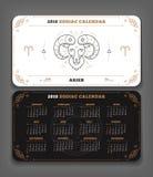 Aries 2018 year zodiac calendar pocket size horizontal layout   Royalty Free Stock Photography