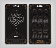 Aries 2018 year zodiac calendar pocket size vertical layout   Royalty Free Stock Images