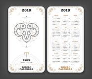 Aries 2018 year zodiac calendar pocket size vertical layout  Stock Images