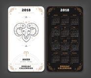 Aries 2018 year zodiac calendar pocket size vertical layout  Royalty Free Stock Photo