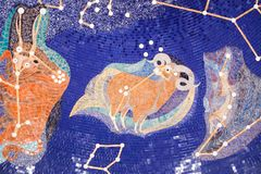Aries - Zodiac. All Zodiac mosaic mural ine Sharjah Museum Stock Photo