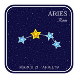 Aries zodiac constellation in square frame. Cute cartoon style vector illustration isolated on white background. Square horoscope emblem with Aries ram Royalty Free Stock Photo