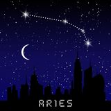 Aries zodiac constellations sign on beautiful starry sky with galaxy and space behind. Aries horoscope symbol constellation on dee. P cosmos background Stock Image