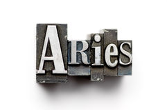 Aries Zodiac Sign. Sign of the Zodiac using vintage letterpress type with narrow depth of field. Part of an annual/calendar series royalty free stock photo