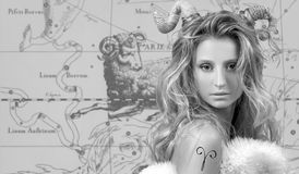 Horoscope. Aries Zodiac Sign, Beautiful woman Aries on zodiac map. Aries Zodiac Sign. Astrology and horoscope concept, Beautiful woman Aries on zodiac map stock photos