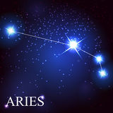 Aries zodiac sign of the beautiful bright stars. Vector of the aries zodiac sign of the beautiful bright stars on the background of cosmic sky Royalty Free Stock Image