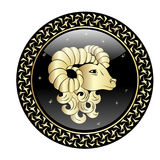 Aries zodiac sign in circle frame. Vector zodiac icon. Vector illustration Royalty Free Stock Images