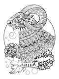 Aries zodiac sign coloring book vector Royalty Free Stock Image