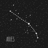 Aries Zodiac sign constellation. Aries - hand drawn Zodiac sign constellation in white over black starry night sky. Vector graphics astrology illustration vector illustration