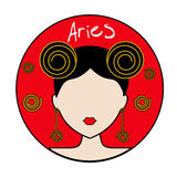 Aries zodiac sign. Female avatar Royalty Free Stock Photography